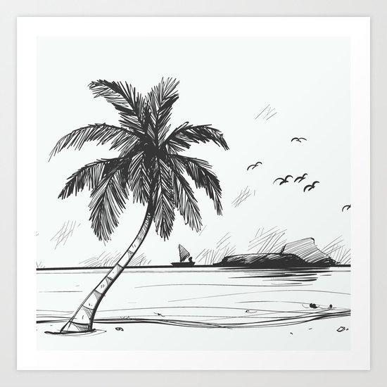 Beach graphic sketch art Art Print