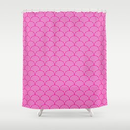 Pink Concentric Circle Pattern Shower Curtain