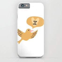 "yellow ""love is love"" cutesy vday bird iPhone Case"