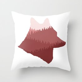Wolf Mountains (Red) Throw Pillow