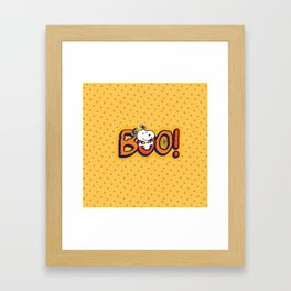 Snoopy BOO yellow pattern dot Framed Art Print