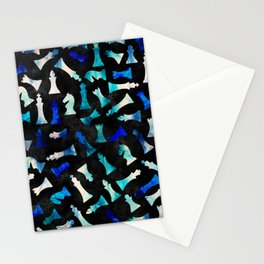 Chess Figures Pattern -Watercolor Blue and Teals Stationery Cards