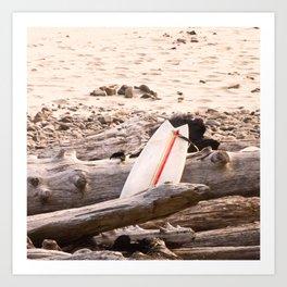 Surfboard, Oregon Beach, Coldwater Surfing, Driftwood Art Print