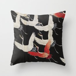 Furisode with a Myriad of Flying Cranes (Japan) Throw Pillow