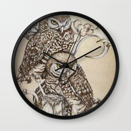 Duality - Two Burrowing Owls Wall Clock