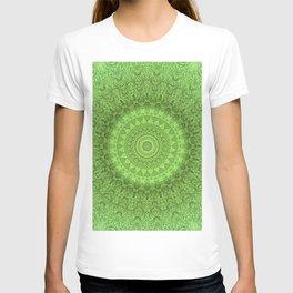 Sunflower Feather Bohemian Leaf Pattern \\ Aesthetic Vintage \\ Green Teal Aqua Color Scheme T-shirt