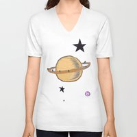 saturn V-neck T-shirts featuring Saturn by Probably Plaid
