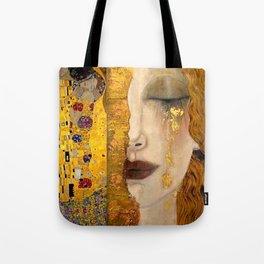Gustav Klimt portrait The Kiss & The Golden Tears (Freya's Tears) No. 2 Tote Bag