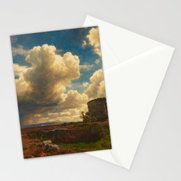 Landscape in Campagna Italy with Gathering Storm by Oswald Achenbach Stationery Cards