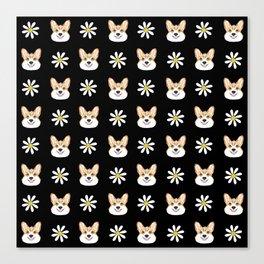 Corgi welsh corgi daisy flowers spring summer florals dog breed pet portrait by pet friendly Canvas Print