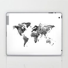 World map, Black and white world map Laptop & iPad Skin