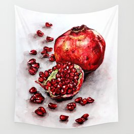 Red pomegranate watercolor art painting Wall Tapestry