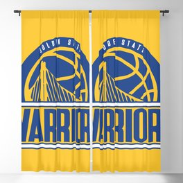 Warriors vintage basketball logo Blackout Curtain