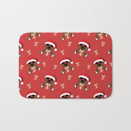 Cool Santa Bear with sunglasses and Christmas gifts pattern Bath Mat