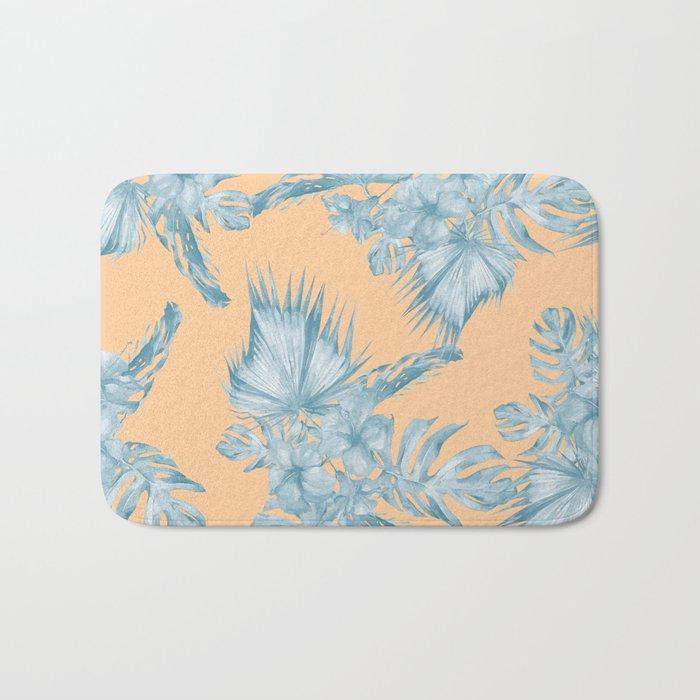 Ocean Blue Palm Leaves on Coral Apricot Bath Mat