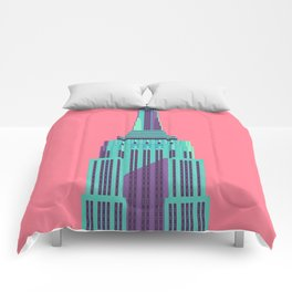 Empire State Building New York Art Deco - Red Comforters