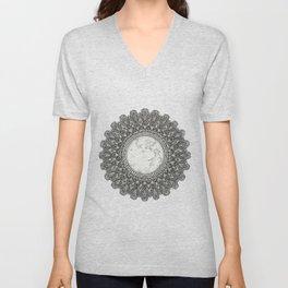 Black and White Moon Mandala Unisex V-Neck