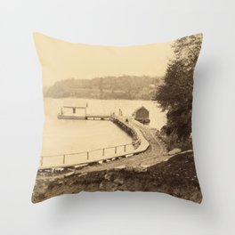 Vintage Adirondacks: Ticonderoga Boat Landing Throw Pillow