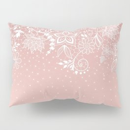 Elegant white lace floral and confetti design Pillow Sham