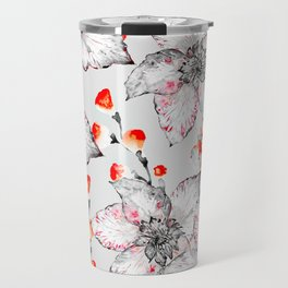 Red And Grey Floral Pattern Travel Mug