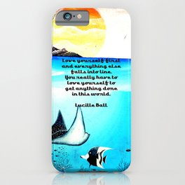 Love Yourself First Inspirational Quote With Underwater Scene Painting iPhone Case