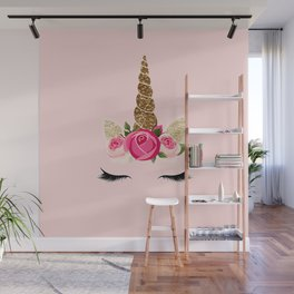 Pink Roses Gold Glitter Unicorn Wall Mural