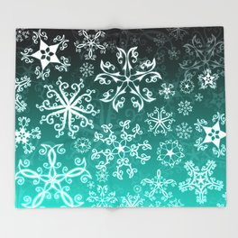 Symbols in Snowflakes on Winter Green Throw Blanket