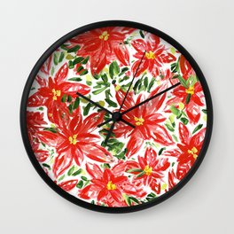 Pretty Poinsettias Wall Clock