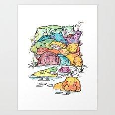 Hippo family Art Print