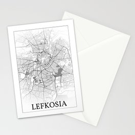 Lefkosia, Kypros, (Nicosia, Cyprus), city map print Stationery Cards