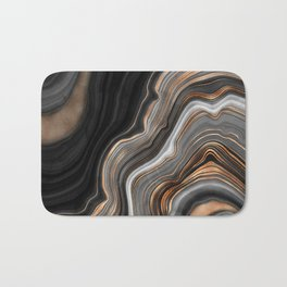 Elegant black marble with gold and copper veins Bath Mat
