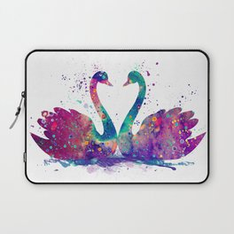 Swans Art Heart Shaped Gift Colorful Watercolor Art Animal Lovers Gift Laptop Sleeve