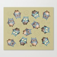owls Canvas Prints featuring Owls by Catru