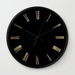 Gold Roman Numerals Wall Clock on Black Background Wall Clock