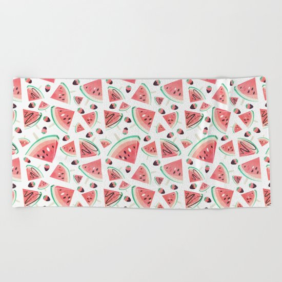 Watermelon popsicles, strawberries and chocolate Beach Towel