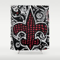 fleur de lis Shower Curtains featuring Fleur de Lis Magenta by Janin Wise