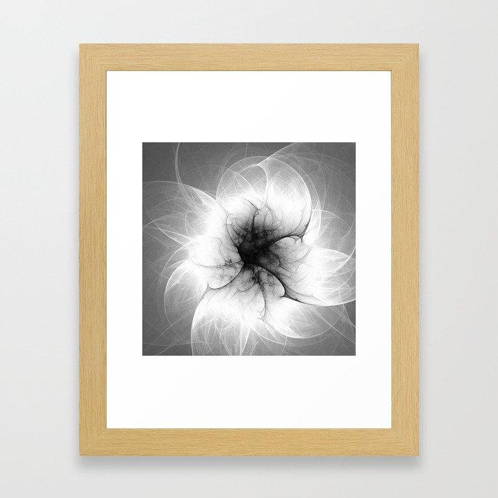 Ghost Flower Fractal Framed Art Print