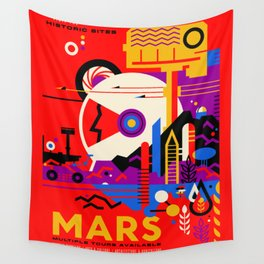 NASA Mars The Red Planet Retro Poster Futuristic Best Quality Wall Tapestry