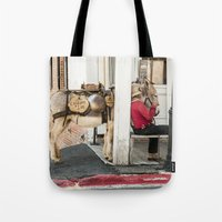 donkey Tote Bags featuring Donkey by Joëlle Paquet