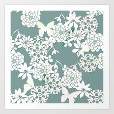 Papercut snowdrops Art Print