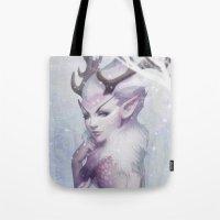 artgerm Tote Bags featuring Reindeer Princess by Artgerm™