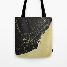 Barcelona Black and Gold Map Tote Bag