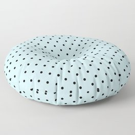Small Black Polka Dots On Baby Blue Background Floor Pillow