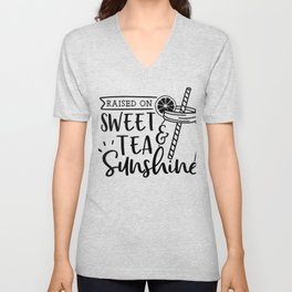 TEA LOVERS TEA designS - SWEET TEA AND SUNSHINE graphic Unisex V-Neck