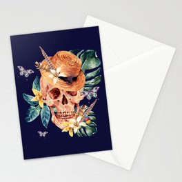 Tropical Latin Skull With Straw Hat Monstera Leaves South American Floral Kingdom Stationery Cards