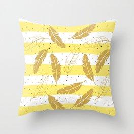 Gold Feather on White and Yellow Stripes Throw Pillow