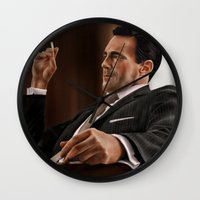 mad men Wall Clocks featuring Don Draper (Mad Men) by San Fernandez