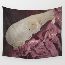 Retro Rodent Skull and Rose Wall Tapestry