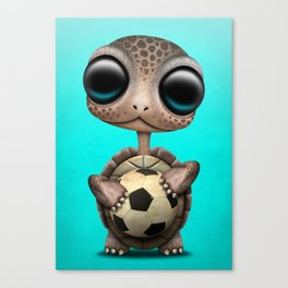 Cute Baby Turtle With Football Soccer Ball Canvas Print