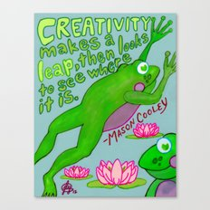 Creativity Makes A Leap! [ Froggy-Friend, Lily Pads, Flowers, Water, Lake, Pond, Stream, Brook ] Canvas Print